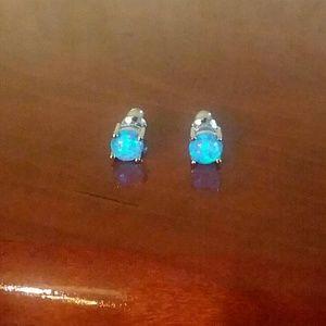 Beautiful Blue Opal silver earrings